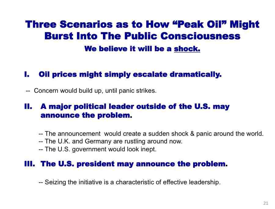 how peak oil will burst into consciousness